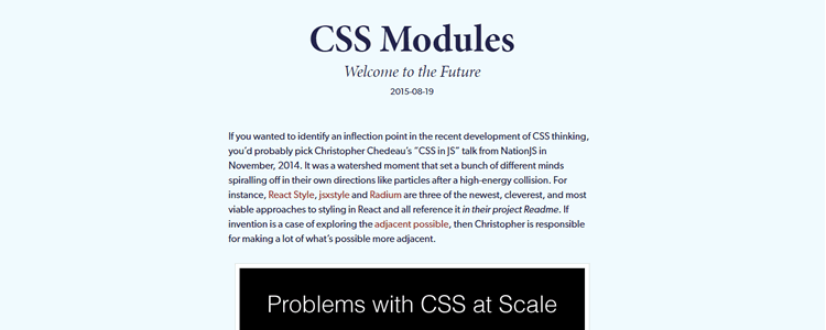 CSS Modules - Welcome to the Future