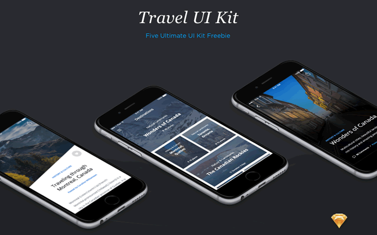 Freebie Travel UI Kit Sketch