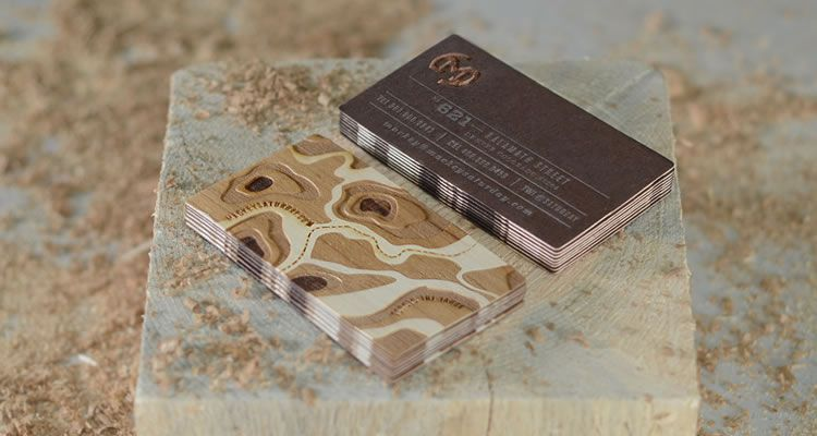 20 inspirational creative business cards for designers duplexed wood veneer with letterpressed metallic ink letterpress business cards reheart Image collections