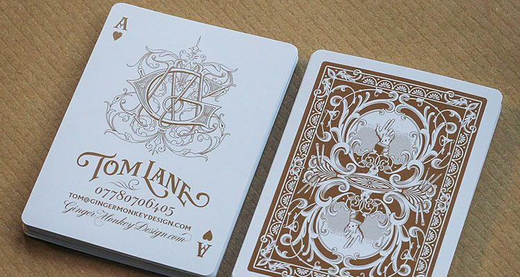 Bronze Metallic Ink on Authentic Playing Cards