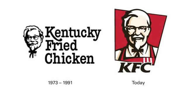 Kentucky Fried Chicken logo brand change KFC