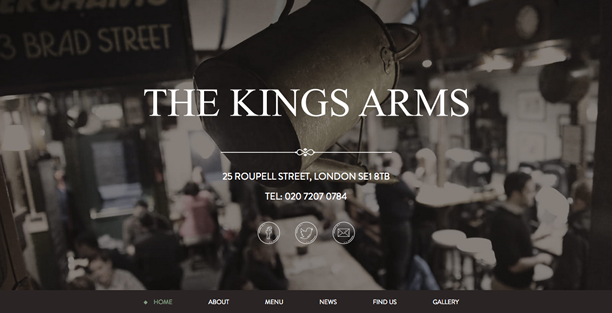The Kings Arms uses simple background divisions with no fancy animation transitions
