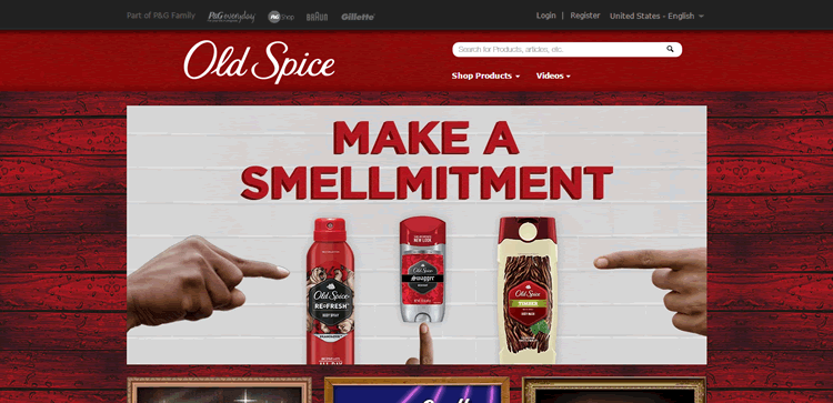 old spice homepage as an example of the color Red ecommerce store color web design
