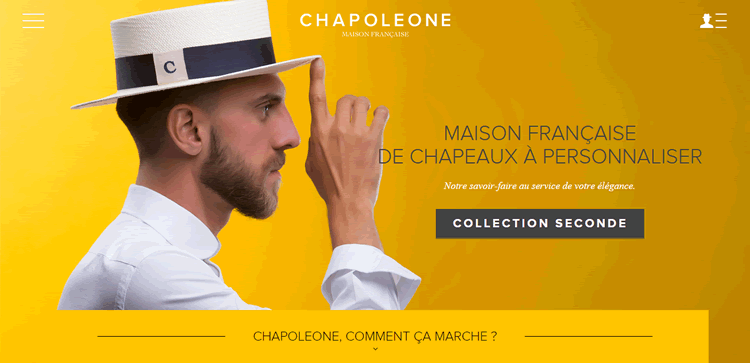 chapoleone example of the color Yellow in use in web design