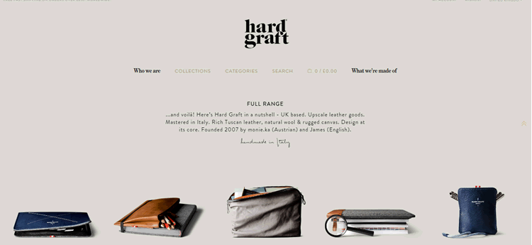 Hard Graft as an example of the color Grey in use in web design