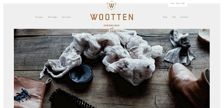 wooten craft example of the color Brown in use in web design