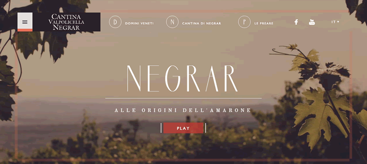 cantina negrar example of the color Brown in use in web design