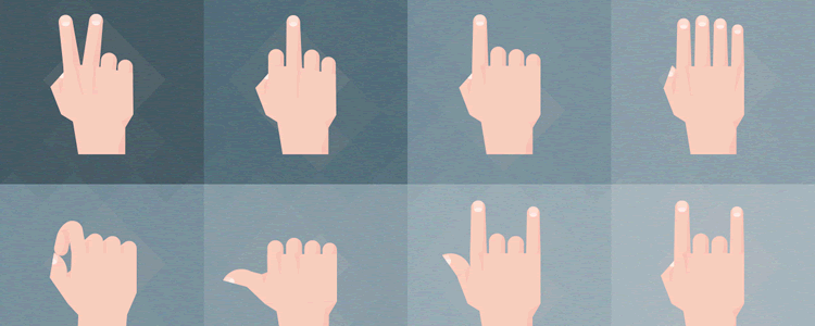 Material Design Hand Gestures photoshop illustrator