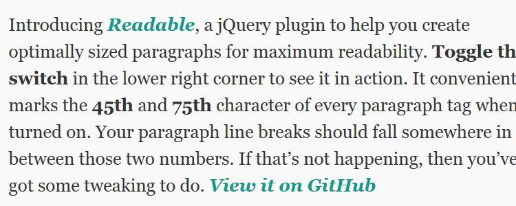 Readable jQuery plugin readable paragraphs