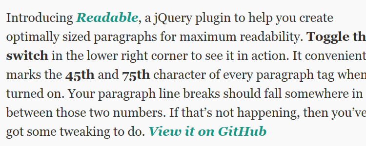 Readable jQuery plugin readable paragraphs