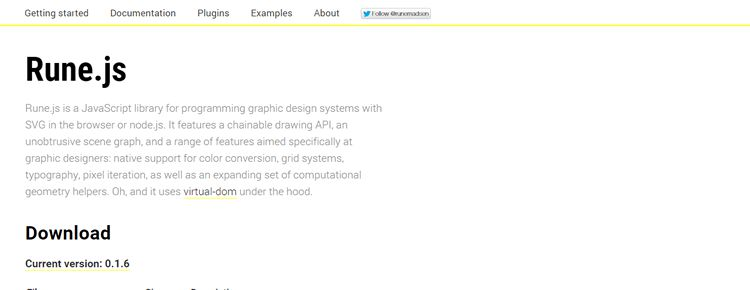 Rune.js JavaScript library programming graphic design systems SVG browser