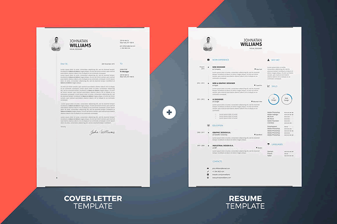 Simple Resume Cover Letter Template InDesign Word  Graphic Design Resume Template