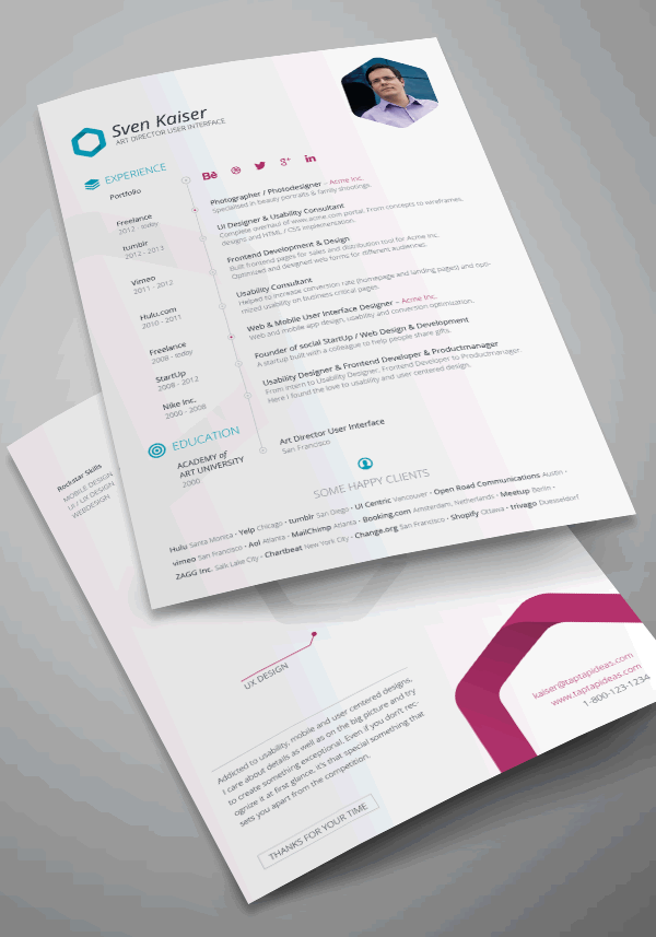 vita resume template indesign - Attractive Resume Templates Free Download