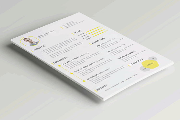 cv resume template photoshop psd