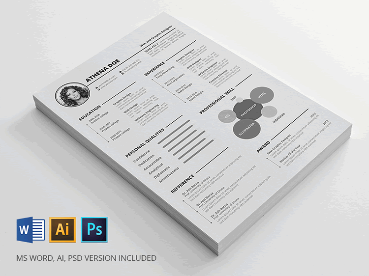Free Resume Template InDesign Word Photoshop PSD  Resume Templates Indesign