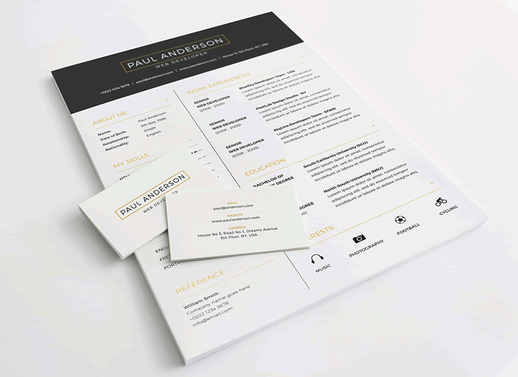 Free Resume, Cover Letter Business Card Template Photoshop Photoshop PSD  Design Resume Templates Free