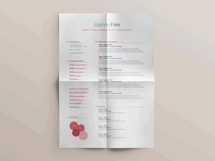 Free Resume Template Vol2 Photoshop PSD