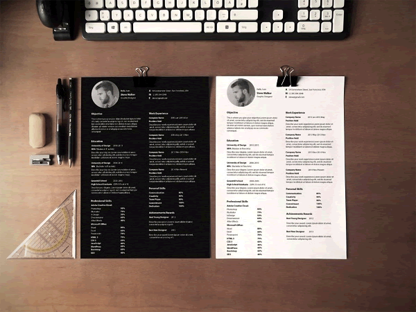 Ultra Minimal Resume Photoshop PSD