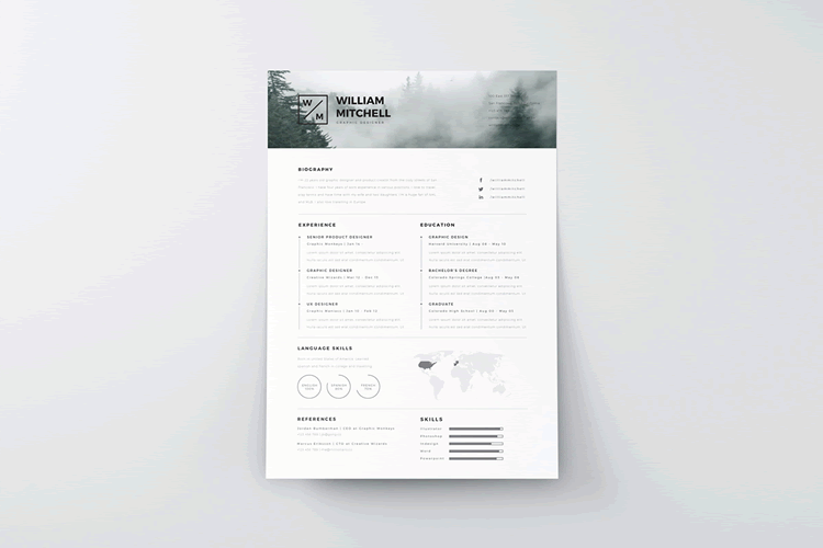 Minimalistic Free Resume Template Illustrator AI  Cool Free Resume Templates