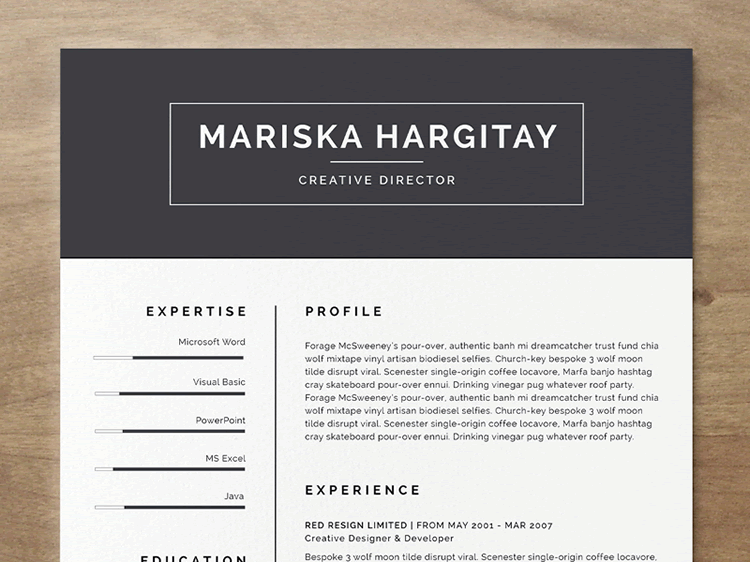 20 beautiful free resume templates for designers. Black Bedroom Furniture Sets. Home Design Ideas
