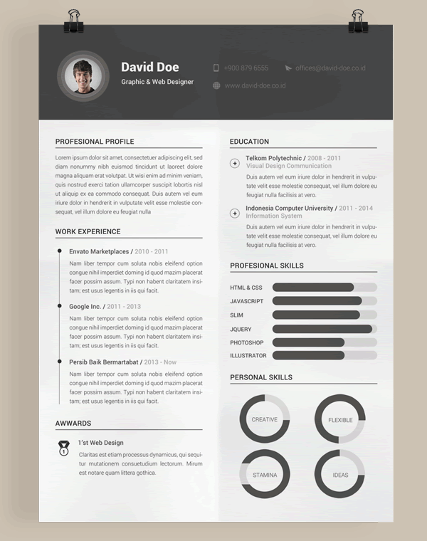 Charming Free Resume Template Photoshop PSD Photoshop