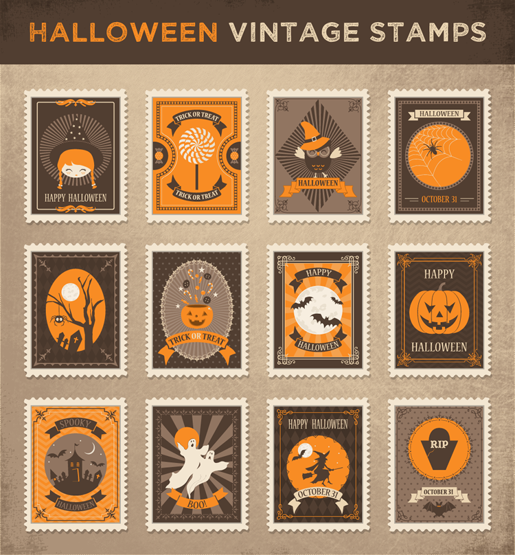 12 Free Vintage Halloween Stamps in AI, EPS, SVG & PSD Formats