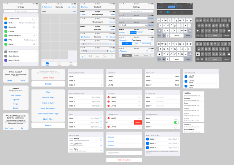 iOS 9 UI Template Sketch Designed Philip Amour