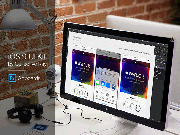 iOS 9 Artboards UI Kit Photoshop Designed Brian Benitez