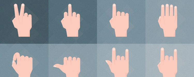 Set of Material Design Hand Gesture