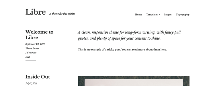 Libre free Long-Form Writing Blog wordpress theme