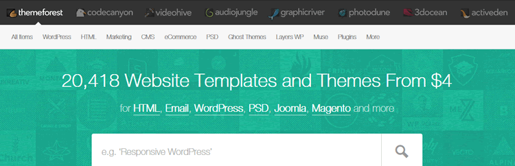 themeforest screenshot of homepage