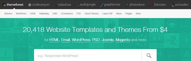 themeforest screenshot of homepage