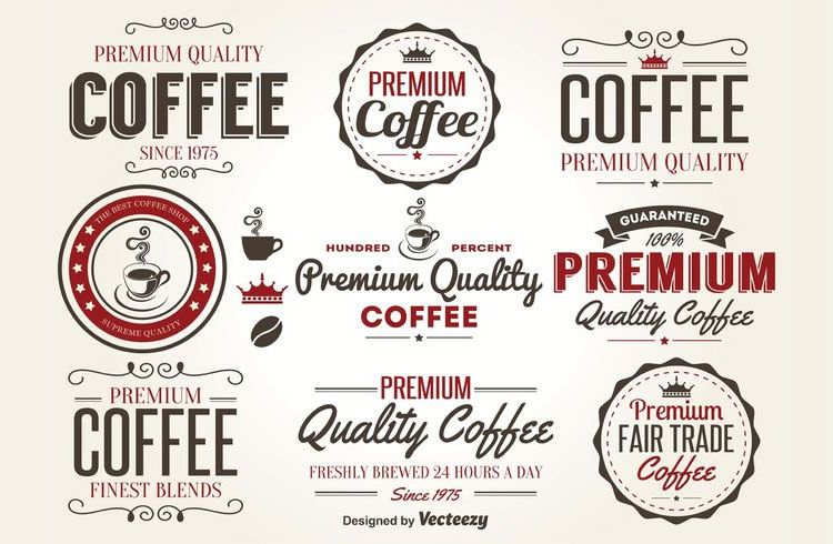 Retro Coffee Label Vectors 9 Logos AI EPS
