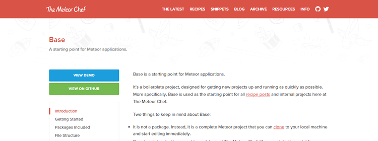 Base starting point Meteor applications