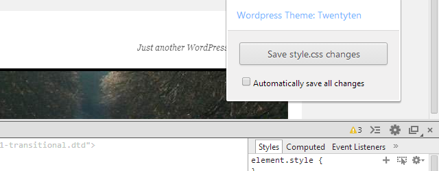 Wordpress Style Editor chrome extension web designer