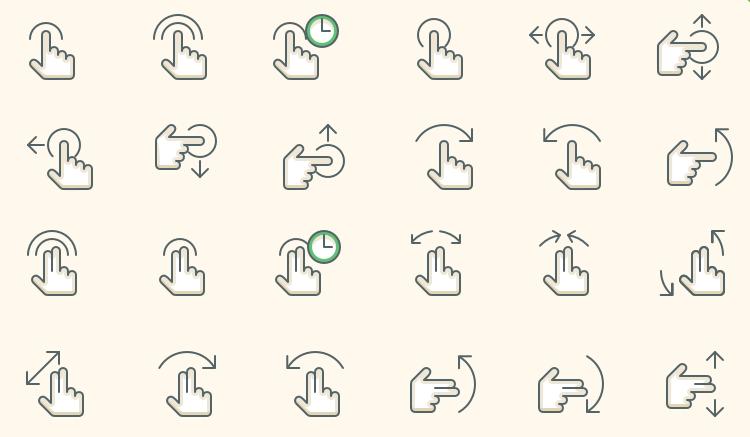 Gesture Icons mobile app development designer