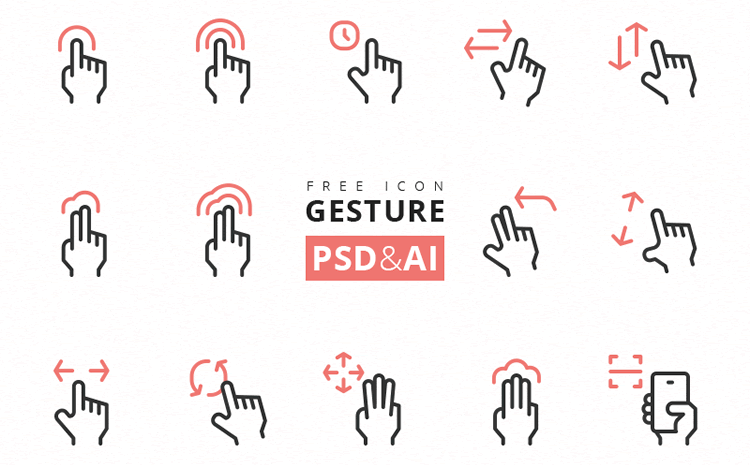 Free Gesture Icon Set mobile app development designer