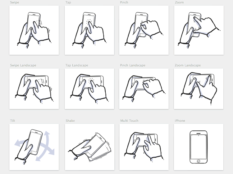 iPhone Gestures icons mobile app development designer