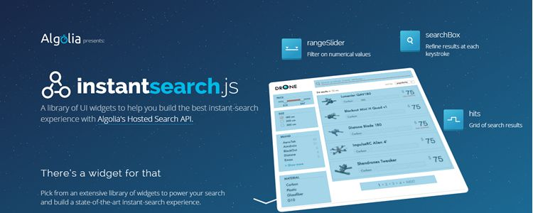 Instantsearch.js Library widgets designed high-performance instant search