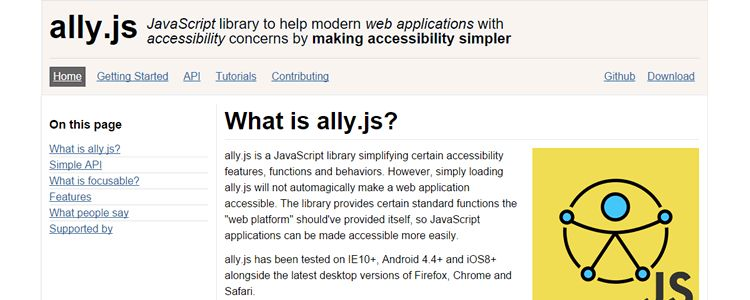 JavaScript library ally.js accessibility simpler