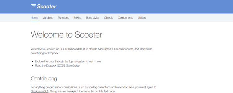 SCSS framework UI library Dropbox Scooter
