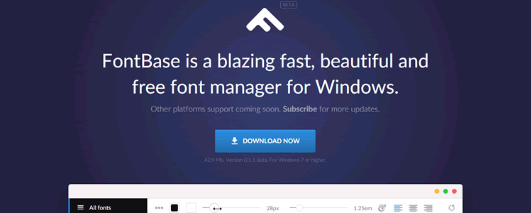 FontBase blazing fast beautiful free font manager Windows