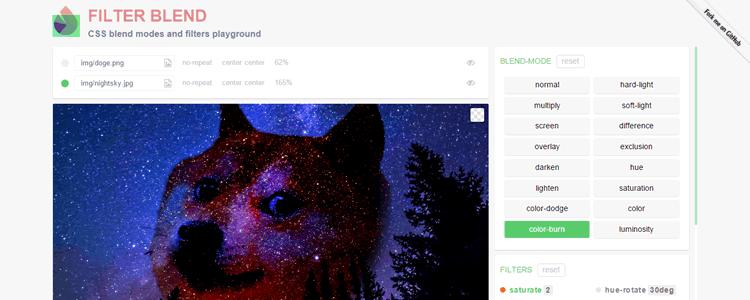 Filter Blend CSS blend modes filters playground