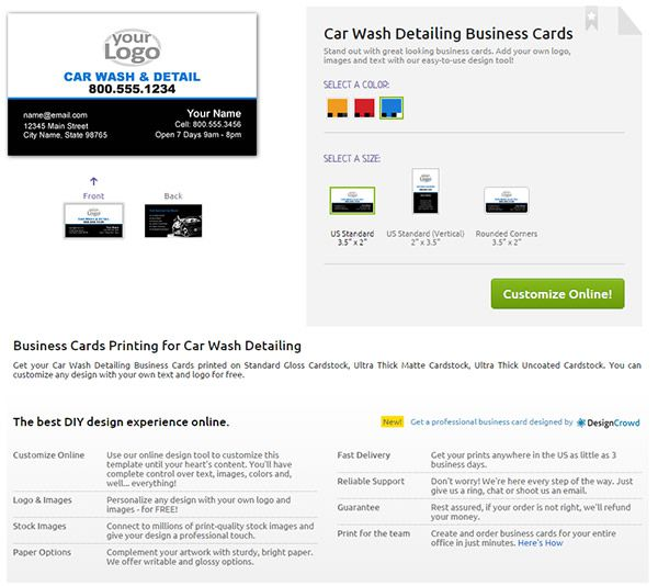 YouPrint Business Card product page