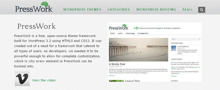 presswork free wordpress framework