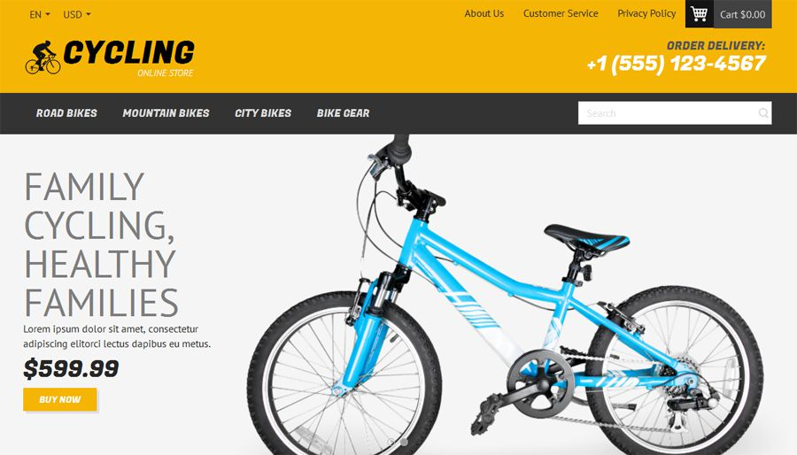 Cycling Free OpenCart Template