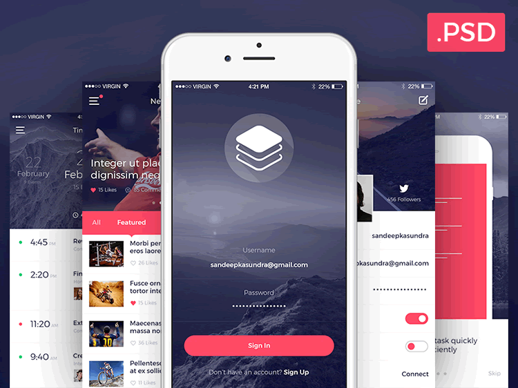 Clean Free Modern iOS UI Kit 10 Screens PSD Format Sandeep Kasundra