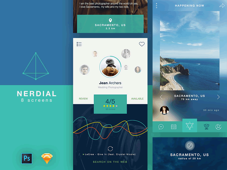 Nerdial Ui Kit 8 Screens Psd Free Sketch Formats Uisurf
