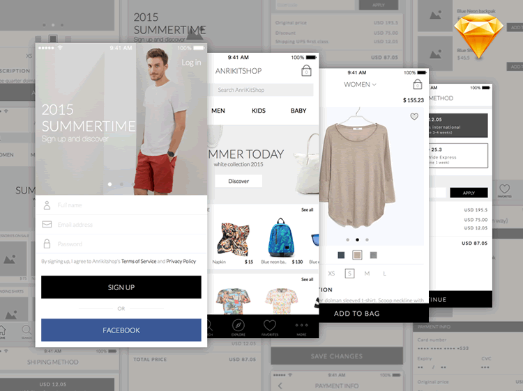 Anri Mobile eCommerce App UI Kit 5 Screens Sketch Format Ghevond Matevosyan