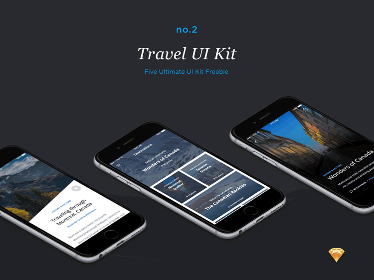Travel UI Kit 50 Screens Sketch Format Ena Bacanovic